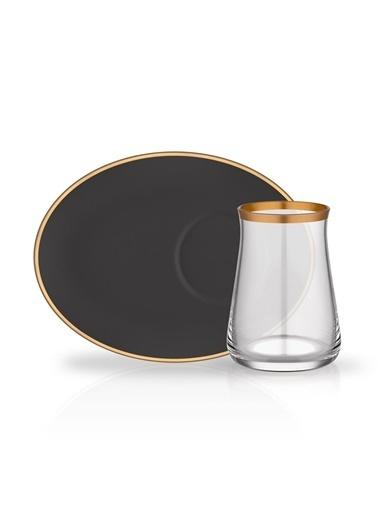 Glore Soft Siyah Geniş Tabaklı 6 Kişilik Çay Set Renkli